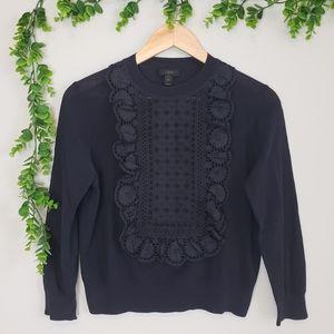 J. Crew Crochet & Ruffle Cotton Knit Top